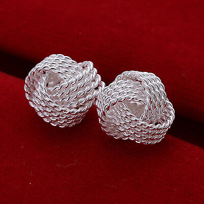 18K White Gold Plated 10MM Love Knot Stud Women's Earrings Jewelry H005