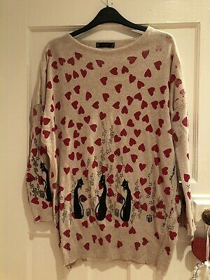 Ladies Beige Cat Jumper One Size 8 10