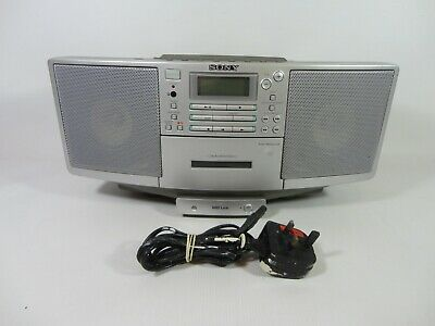 Sony ZS-D5 Portable Boombox CD Cassette Player Radio MD MiniDisc Link TESTED