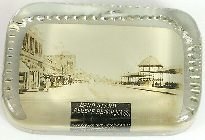 Antique Photo Glass Paperweight Revere Beach Boston Mass Concert Band Stand Ma