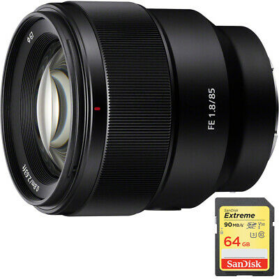 Sony FE 85mm F1.8 Full-frame E-mount Fast Prime Lens with 64GB SD Memory Card