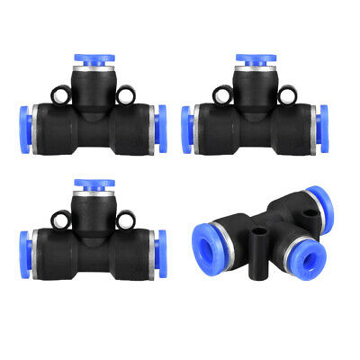 "4pcs Push to Connect Fittings T Type 15/64"" -5/32"" od Tube Fittings Blue"