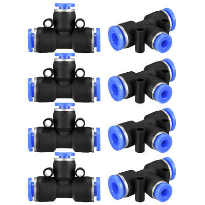 "8pcs Push to Connect Fittings T Type 15/64"" -5/32"" od Tube Fittings Blue"