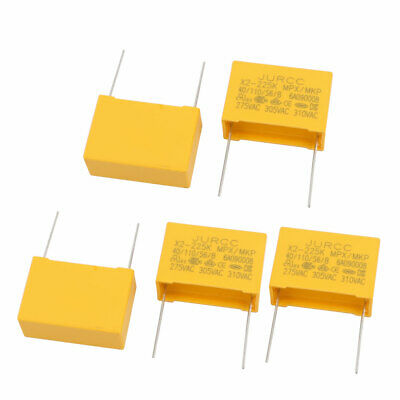 5Pcs Metal Axial Leads Safety Polyester Film Capacitor 310VAC 2.2uF Yellow