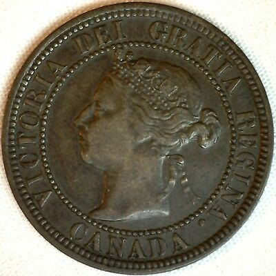 1882 H Copper Canadian Large Cent One Cent Coin XF #2