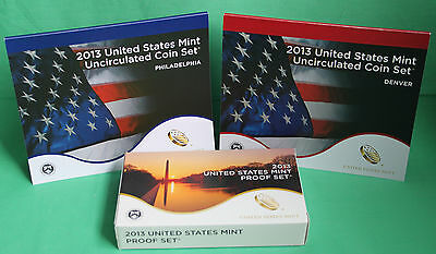 2013 Proof and Uncirculated Annual US Mint Coin Sets PDS 42 Coins TWO Sets