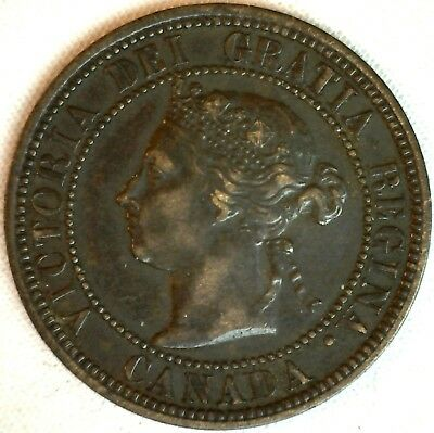 1882 H Copper Canadian Large Cent One Cent Coin Extra Fine #13
