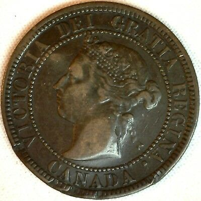 1882 H Copper Canadian Large Cent One Cent Coin Net Fine #10