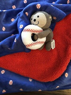 Carters Just One You Blue Velour Baseball Red Sherpa Baby Blanket Monkey Boy EUC