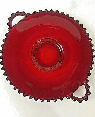 CANDLEWICK RED 2-Handled Plate Rare Vintage Glass Hand Blown Serving Pastry KD