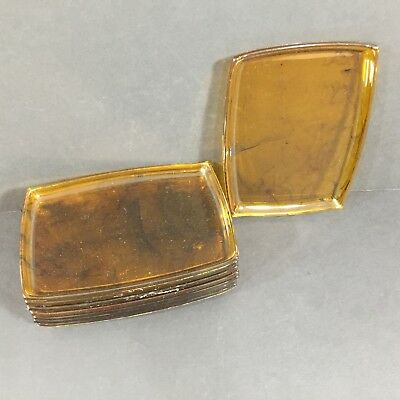 Set of 8 Vintage Mid Century Tortoise Shell Amber Lucite Snack Trays
