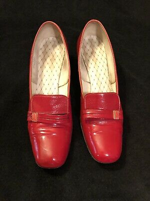 Vintage Enna Jetticks Red Crinkle Leather Womens Shoes Pumps Sky Lark in Box 8.5