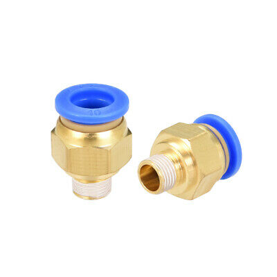 """2 Pcs 1/8"""" G Male Straight Thread 10mm Push In Joint Pneumatic Quick Fittings"""