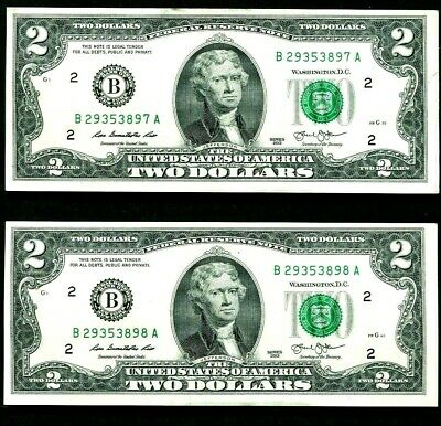 C19 Two(2) Consecutive Numbered $2 Dollar Bills New York  Crisp Unc Paper Notes