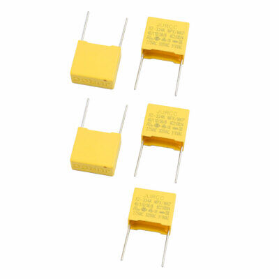 5 Pcs X2-334 Safety Polyester Film Capacitor 310VAC 0.33uF Yellow