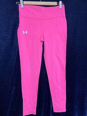 Girls Under Armour Charged Hot Pink Knit Fitted Pant Leggings Sz YLG Youth Large