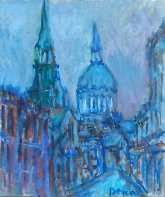 Old Montreal Original Oil Painting French Impressionist Deveaux Signed