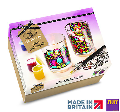 Glass Painting Kit Stain Glass Decorate Your Own Candle Holder Craft Starter Set