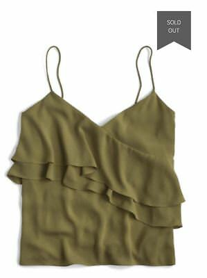ea73a7499a1369 JCrew NWT  60 Drapey Ruffle Camisole Olive Green Tank Top Size 8 Defects
