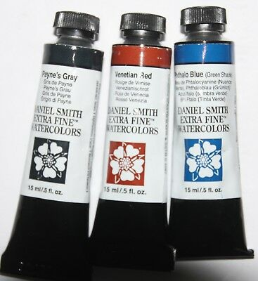 3 DANIEL SMITH Extra Fine Watercolor Paint:15ml-VENETIAN, BLUE & GREY-Ser1