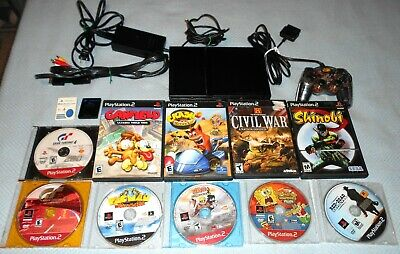 Sony PS2 Slim Black Console and Games Bundle. 10 Games Tested and Play Great!!