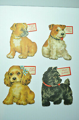 Vintage Unused Greetings Inc Birthday Cards Dogs Puppies 1950 Dog Puppy