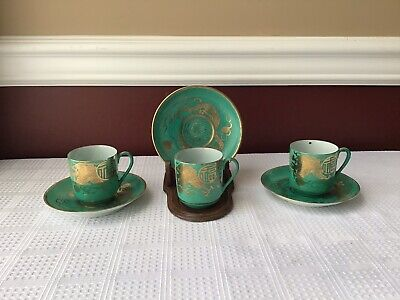6 Piece Antique Japanese Eggshell Porcelain Tea Cups & Saucers