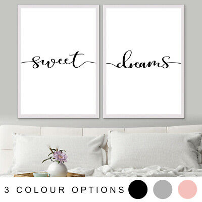 SWEET DREAMS Inspirational Bedroom Decor Quote Set Art Print Poster A4 A3 A2 A1