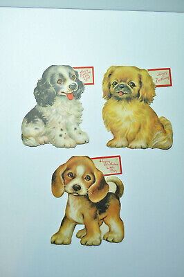 Vintage Unused Greetings Inc Birthday Cards Dogs Puppies 1950 Dog Puppy Lot 4