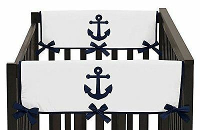 TWO Sweet Jojo Designs Navy  White Nautical Anchor Teething Protector Covers