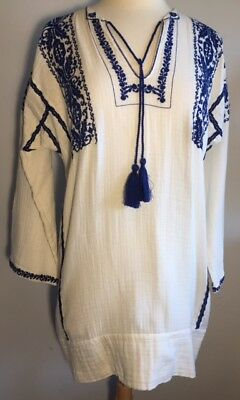 59d0a72aae26c8 Isabel Marant Etoile SZ 40/US 8 VINNY Blue & White Embroidered Tunic Top  Dress