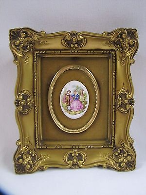 Porcelain Cameo Gold Ornate Framed Painted Victorian Couple Antique