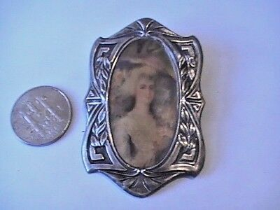 "Antique Ornate Large 2 3/4""  Sterling Victorian Portrait Broach Pin"
