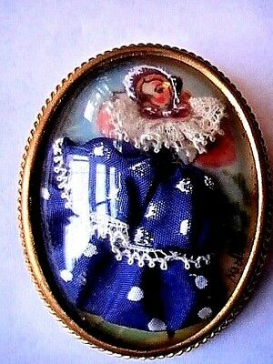 Antique Victorian French Depose  Doll Miniature Portrait Brooch Pin Diorama