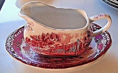 "Antique Vintage Red Grindley ""english Country Inns"" Gravy Boat & Underplate"
