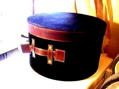 Wowzer! Awesome Large Vintage Fabulous Hatbox Faux Black Suede & Leather Straps