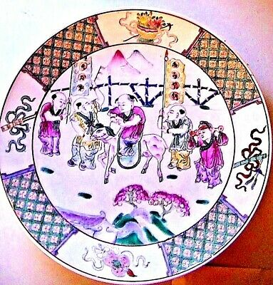 """ANTIQUE HUGE 1700 CHINESE FAMILLE ROSE PLATE CHARGER 'THE IMMORTALS"""" Provenance"""