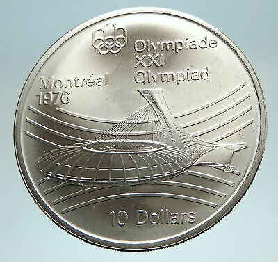 1976 CANADA Large 4.4cm Queen Elizabeth II Olympics Montreal Silver Coin i76715