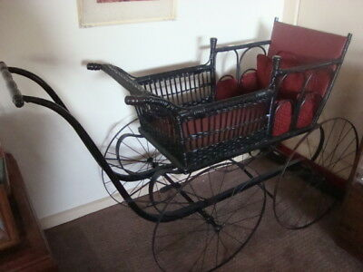 American ? antique 1880's woven cane pram / vintage or antique doll display.