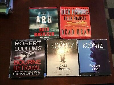 Audiobook Cd Lot Of 5 Dean Koontz Dick Francis Thriller Mystery Action