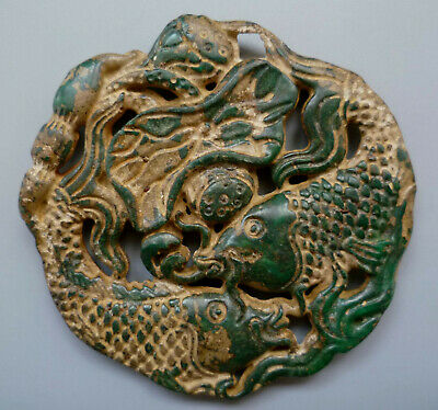 Collect Ancient China Old Jade Carving Auspicious fish Pendant Decoration
