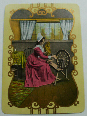 1 Antique Swap Playing Cards Old US Wide Named PRISCILLA  Lady Spinning Wheel