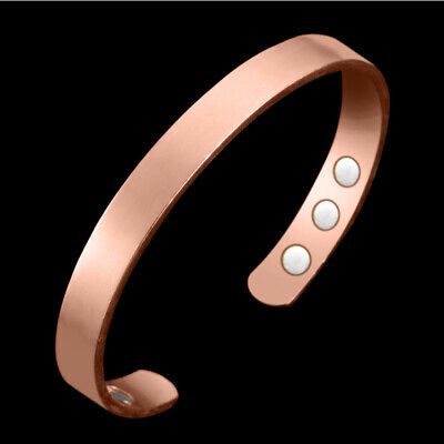 Mens Womens Copper Magnetic Therapy 6 Magnets Cuff Bangle Bracelet US