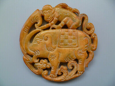 Collect Ancient China Old Jade Carving Auspicious Elephant Pendant Decoration