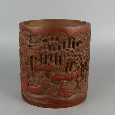 Chinese Exquisite Hand carved landscape figure Carving bamboo Brush pot