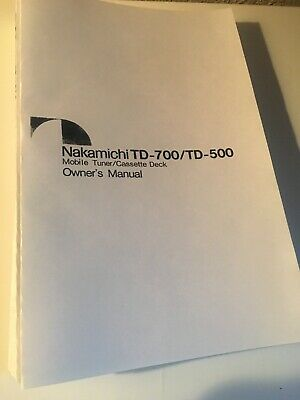 Nakamichi TD-700 TD-500 Cassette Deck Owners Instruction Manual