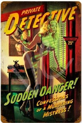 """ Sudden Danger "" Hildebrandt Metal Sign Retro Pulp Detective Man Cave Decor"