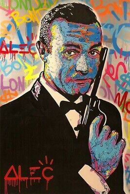 Alec Monopoly James Bond hand painted oil painting on canvas 24x36""