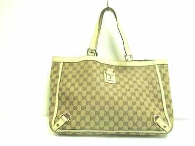 de0310e3bc6 AUTH GUCCI DIAMANTE 247209 Ivory Khaki Orange Jacquard Leather Tote ...