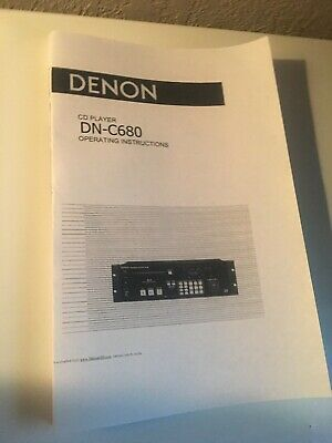 Denon DN-C680 CD Player Owners Manual